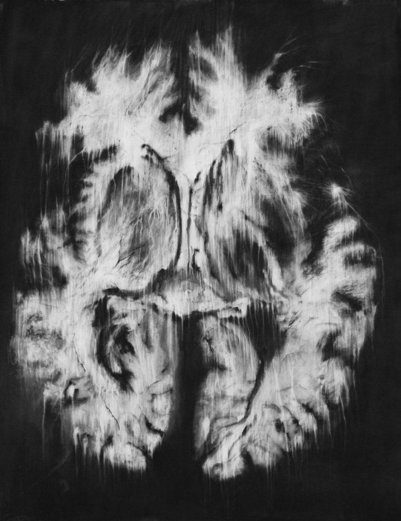 Arcanes, fusain sur papier, 135 x 104 cm, 2018