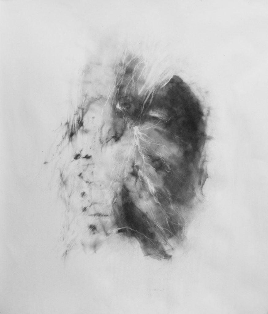 Diptique poumons, Expire, Fusain sur papier, 80 x 72 cm, 2018