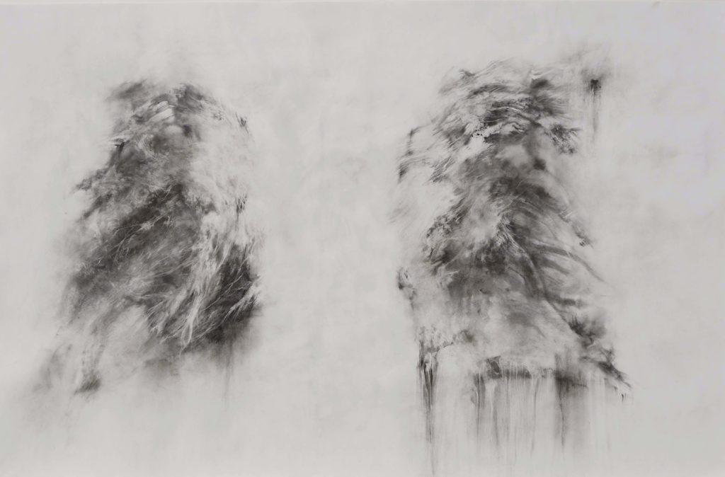 Més-Anges, fusain sur papier, 94 x 115 cm, 2018