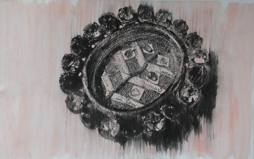 Rest IV, fusain et gouache, 2020, 91,5 x 145 cm