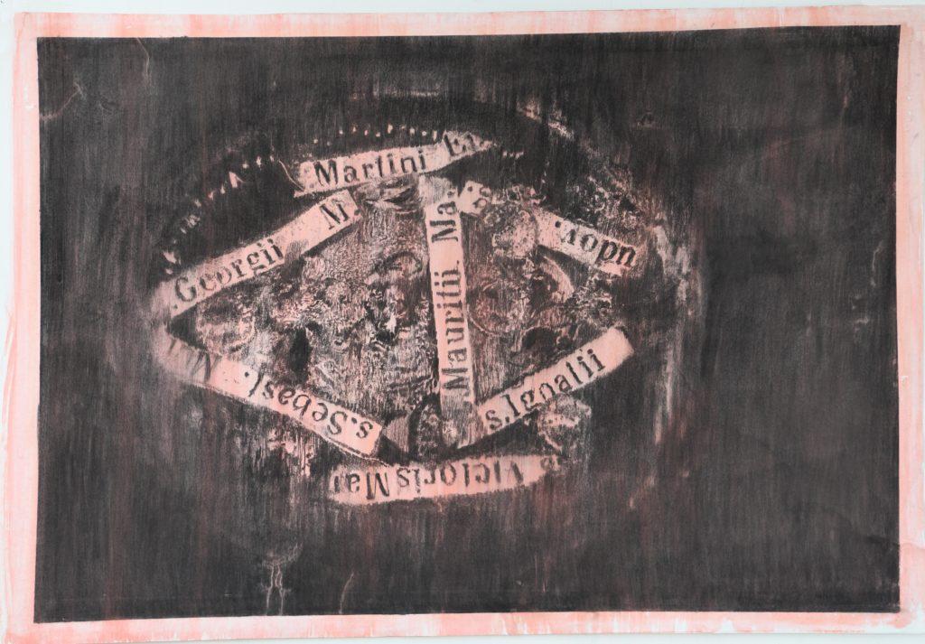 Rest III, fusain et gouache, 2020, 98 x 144 cm