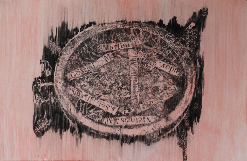 Rest I, fusain et gouache, 2020, 96 cm x 146 cm