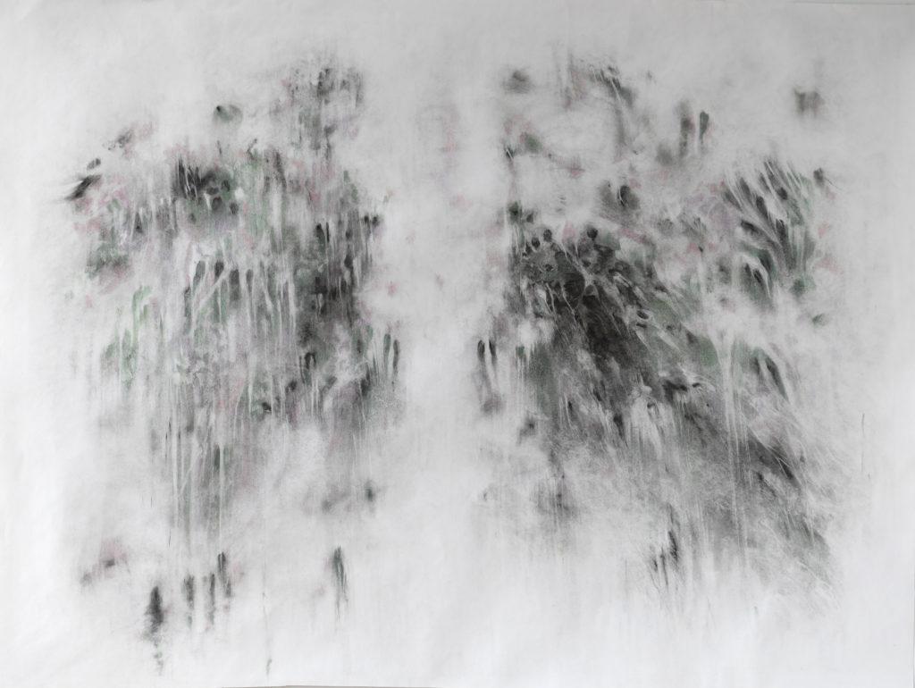En vert et contre, fusain et crayon de couleur, 2020, 107 x 142 cm