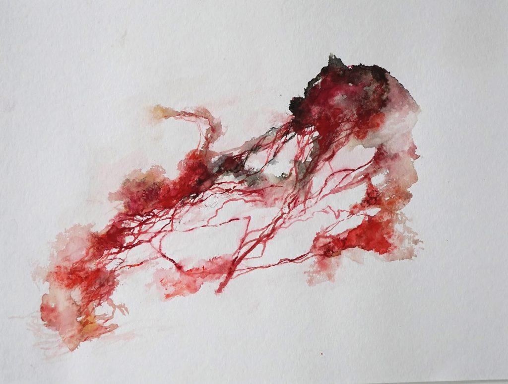L'école du sang 4 (série Land of plenty), aquarelle sur papier, 40 x 30, 2017
