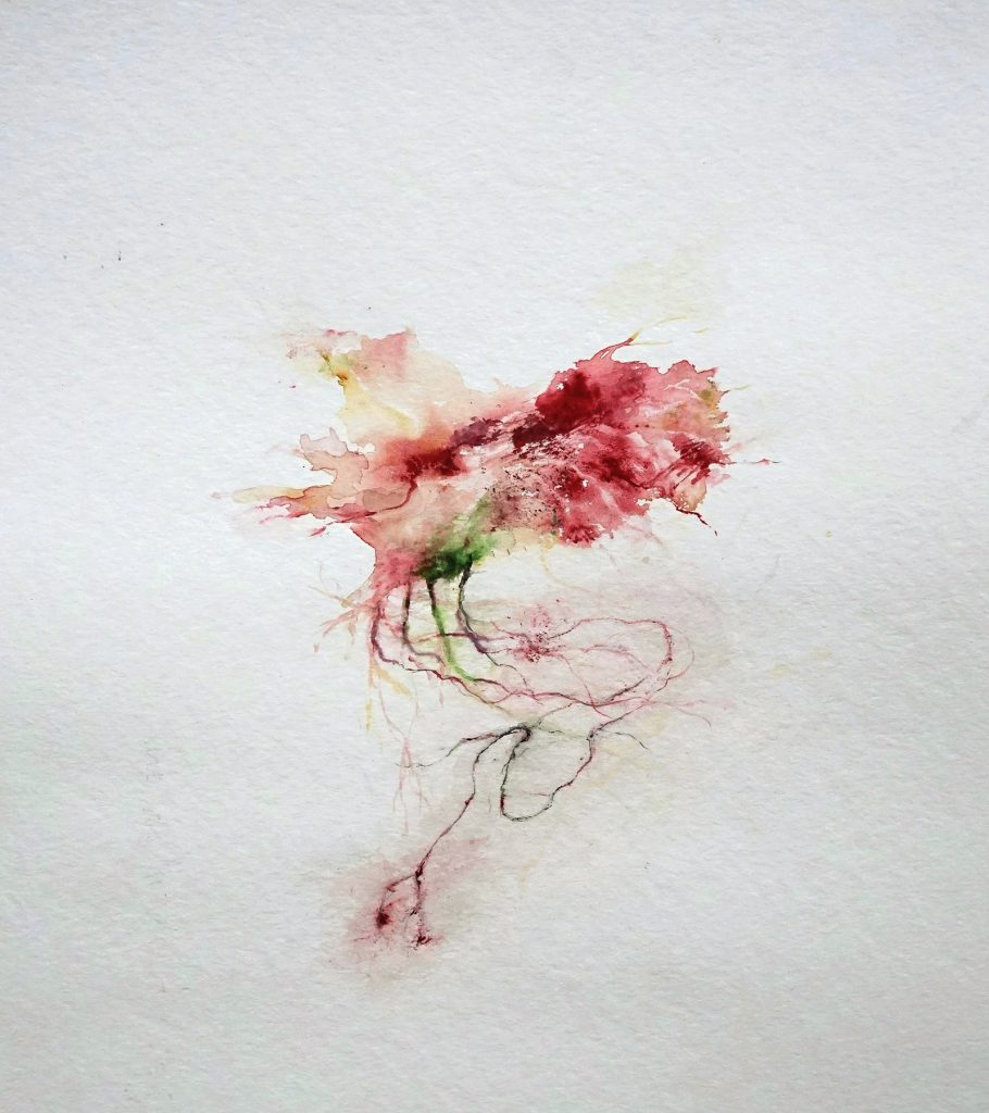L'école du sang 2 (série Land of plenty), aquarelle sur papier, 40 x 30 cm, 2017
