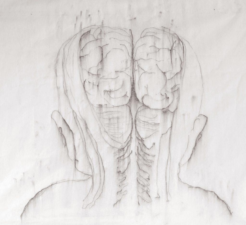 Lucioles, fusain sur papier, 67 x 57 cm, 2017