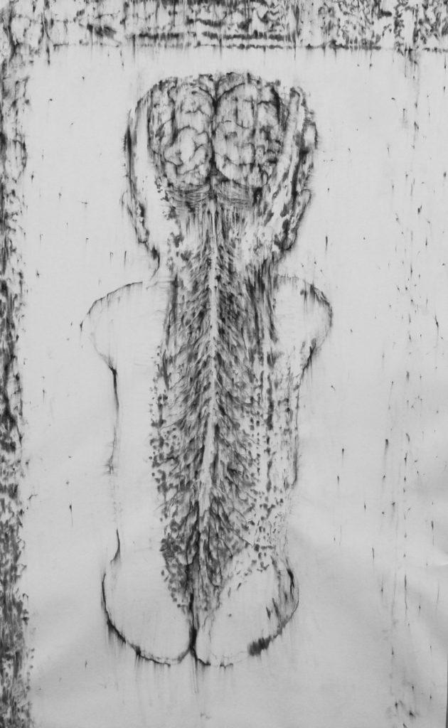 Sans titre, fusain sur papier, 135 x 104 cm, 2018