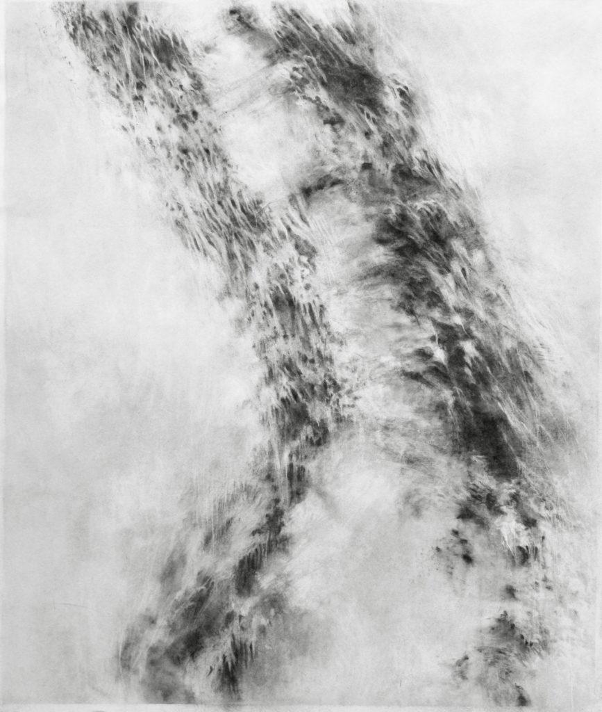 Ancrage, fusain sur papier, 82 x 70 cm, 2019