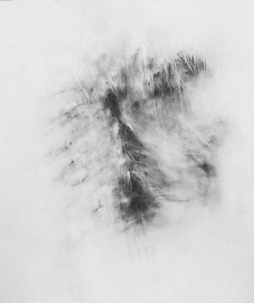 Diptique poumons, Expire, Fusain sur papier, 80 x 72, 2018