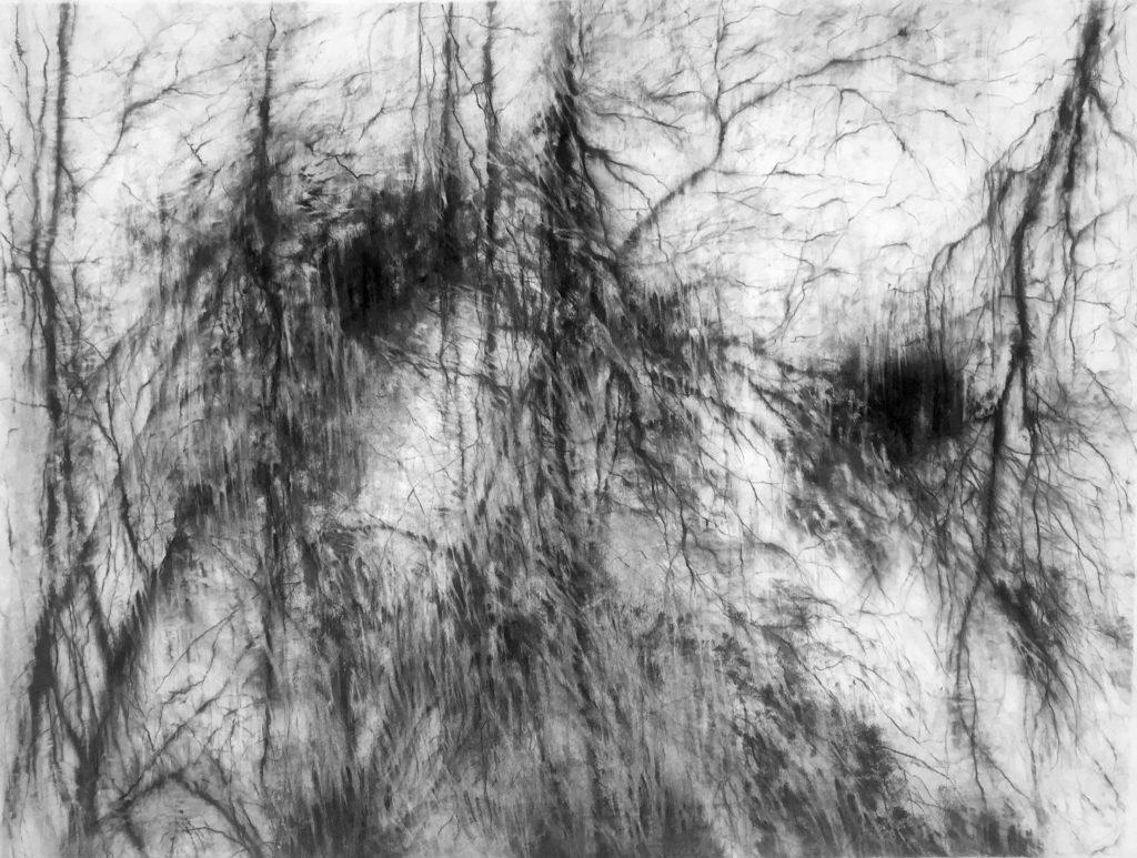 Le dehors et le dedans, fusain sur papier, 115 x 145 cm, 2019