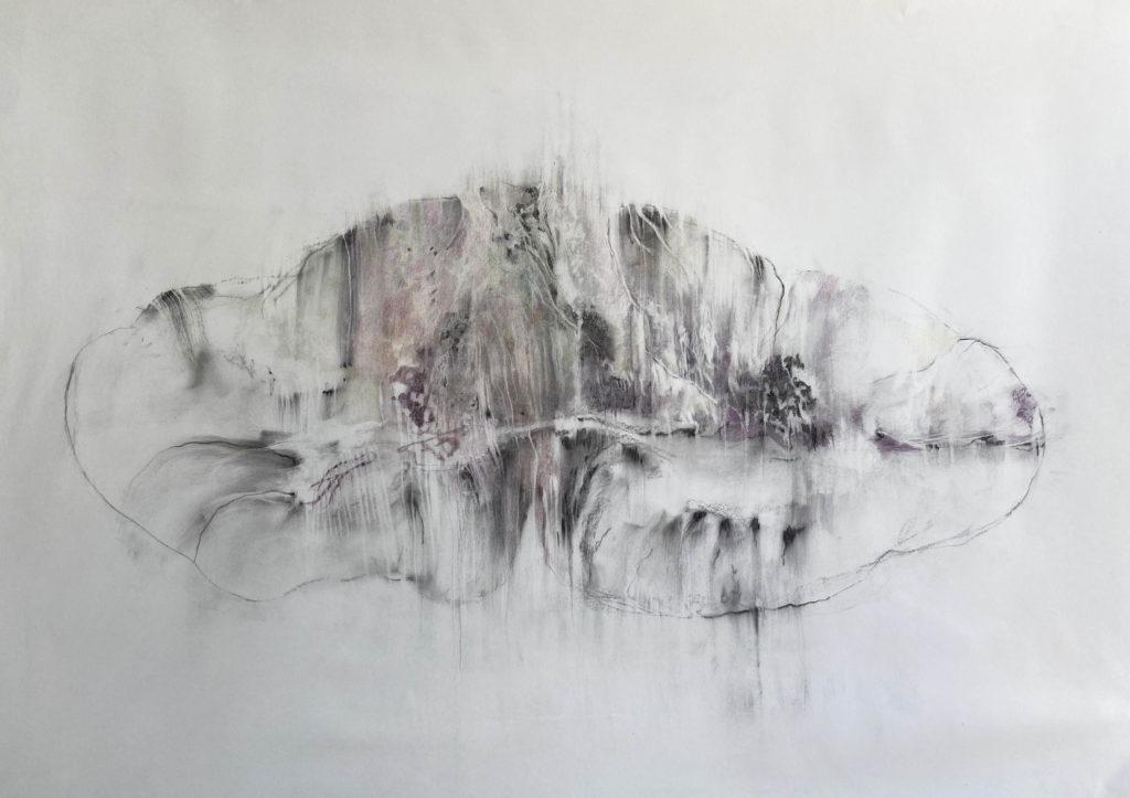 Jusqu'ici tout va bien, fusain et crayon sur papier, 115 x 145 cm, 2020