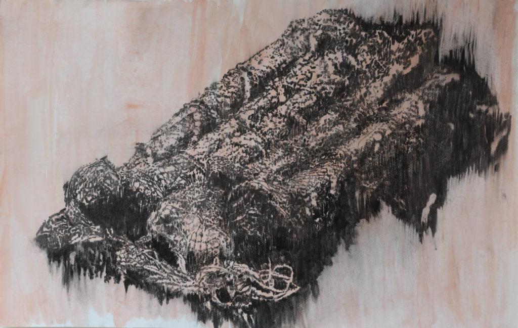 Pauvre Pierre, fusain et gouache, 2020, 92,5 cm x 147 cm