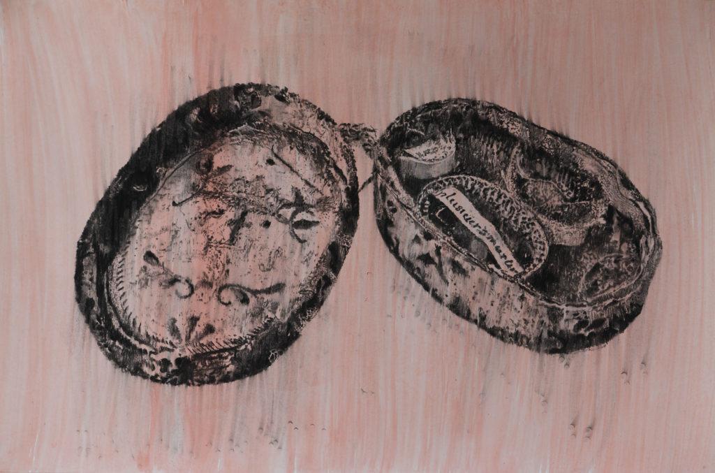 Rest II, fusain et gouache, 2020, 98 x 146 cm